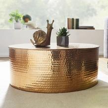 Wohnling Couchtisch RAHI 75x31x75 cm Aluminium Beistelltisch Gold Orientalisch Rund, Flacher Hammerschlag Sofatisch Metall, Design Wohnzimmertisch Modern, Loungetisch Indisch Stubentisch Klein gold