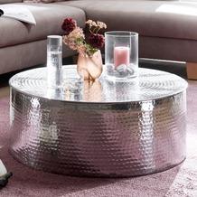 Wohnling Couchtisch RAHI 75x31x75 cm Aluminium Beistelltisch Silber Orientalisch Rund