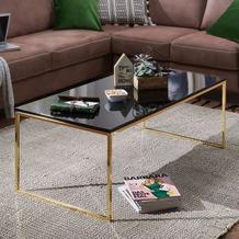 Wohnling Couchtisch RIVA 120x45x60 cm Metall Holz Sofatisch Schwarz / Gold rechteckig, mit Metallgestell