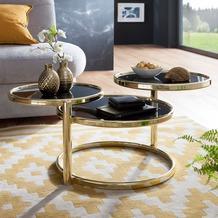Wohnling Couchtisch SUSI 58x43x58 cm mit 3 Tischplatten Schwarz / Gold Glastisch rund, mit Gestell aus Metall
