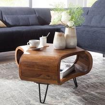 Wohnling Couchtisch WL5.603 55x38x55 cm Sheesham Massiv Holz Ablage & Metallgestell, rechteckig Braun