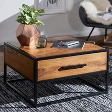 Wohnling Couchtisch WL5.623 Massivholz / Metall Sofatisch 65x38x65cm, Design Wohnzimmertisch Sheesham, braun