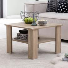 Wohnling Couchtisch WL5.833 Sonoma Eiche 60x42x60 cm Design Holztisch mit Ablage, Wohnzimmertisch Coffee Table, Sofatisch Loungetisch Holz, Kaffeetisch Stubentisch mit Stauraum, Tisch Wohnzimmer sonoma