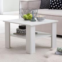 Wohnling Couchtisch WL5.834 Weiß 60x42x60 cm Design Holztisch mit Ablage, Wohnzimmertisch Coffee Table