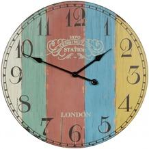 Wohnling Deko Vintage Wanduhr XXL Ø 60 cm London Stripes Holz bunt, Große Uhr rustikal Dekouhr rund, Design Retro Küchenuhr für Küche & Wohnzimmer
