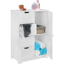 Wohnling Design Badschrank LUIS Landhaus-Stil MDF-Holz 56 x 83 x 30 cm weiß, Badezimmerschrank klein 4 Schubladen & 1 Tür, Beistellschrank Mehrzweckschrank