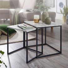 Wohnling Design Beistelltisch 2er Set Marmor Optik Weiß, Modern