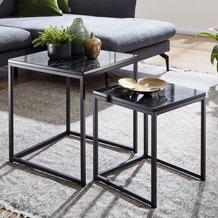 Wohnling Design Beistelltisch 2er Set Schwarz Marmor Optik eckig, Couchtisch 2-teilig Tischgestell Metall