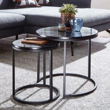 Wohnling Design Beistelltisch 2er Set Schwarz Marmor Optik rund, Couchtisch 2-teilig Tischgestell Metall