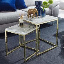 Wohnling Design Beistelltisch 2er Set Weiß Marmor Optik eckig, Couchtisch 2-teilig Tischgestell Metall Gold