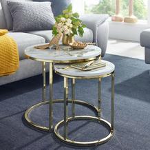 Wohnling Design Beistelltisch 2er Set Weiß Marmor Optik rund, Couchtisch 2 teilig Tischgestell Metall Gold