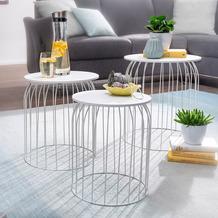 Wohnling Design Beistelltisch 3er Set aus Körben Weiß, Korbtische mit abnehmbaren Tablett