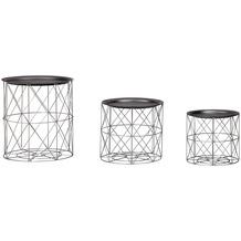 Wohnling Design Beistelltisch 3er Set aus Körben Schwarz / Silber, Moderne Korbtische mit abnehmbaren Tablett