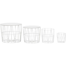 Wohnling Design Beistelltisch 4er Set aus Körben Weiß, Korbtische mit abnehmbaren Tablett