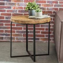 Wohnling Design Beistelltisch BELLARY Oval 60x61x53 cm Massivholz Tisch mit Metallgestell, Industrie Couchtisch modern Holztisch mit Metallbeinen, Loft Wohnzimmertisch Anstelltisch modern braun