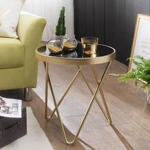 Wohnling Design Beistelltisch DANA 42x46x42cm Schwarz/Matt gold rund, Glastisch mit Metallgestell