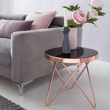 Wohnling Design Beistelltisch Dreibein ø 42 cm Schwarz / Kupfer, Glastisch verspiegelt, mit Metallgestell