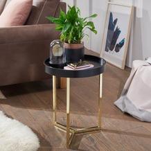 Wohnling Design Beistelltisch EVA 40x51x40cm Couchtisch Rund Schwarz / Gold, mit Metallgestell