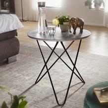 Wohnling Design Beistelltisch in Beton Optik Grau Rund Ø 60 cm, mit Metallgestell