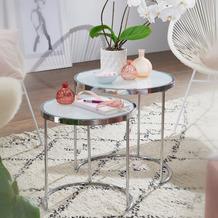Wohnling Design Beistelltisch 2 teilig Ø 50/42 cm weiß Silber mit Glasplatte, Milchglas rund