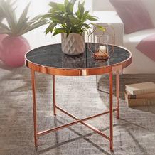 Wohnling Design Beistelltisch Rund Ø 60 cm in Marmor Optik Schwarz, Wohnzimmertisch + Metallgestell in Kupfer