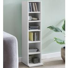 Wohnling Design Bücherregal WL5.336 21x91x20cm mit 6 Fächern Weiß, Standregal Holz Regal freistehend