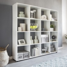 Wohnling Design Bücherregal ZARA mit 16 Fächer Standregal 138 x 142 x 29 cm Holz Regal freistehend, Cube Regal modern, Raumteiler weiß Würfel-Regal, Offenes Aufbewahrungsregal mit Fächern Weiß