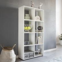Wohnling Design Bücherregal ZARA mit 8 Fächern Weiß 70 x 142 x 29 cm, Standregal Holz Regal freistehend, Ordnerregal Raumteiler modern, Offenes Aufbewahrungsregal Weiß