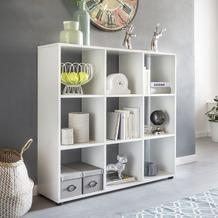 Wohnling Design Bücherregal ZARA mit 9 Fächern Weiß 108 x 104 x 29 cm, Standregal Holz Regal freistehend