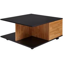 Wohnling Design Couchtisch 70x70 cm Anthrazit / Sandeiche, Wohnzimmertisch mit 2 Schubladen, Sofatisch Rollen