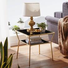 Wohnling Design Couchtisch 50 x 50 cm, 2 Ebenen Schwarz/Gold, Glastisch quadratisch, mit Metallgestell