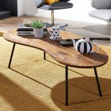 Wohnling Design Couchtisch KASI 122x36x63 cm Sheesham mit Metallbeinen Schwarz, Nierentisch Massivholz braun