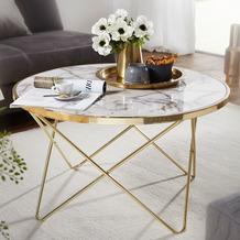 Wohnling Design Couchtisch Ø 85 cm Marmor Optik Weiß/Gold, rund, mit Metallgestell