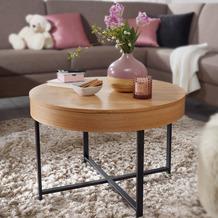 Wohnling Design Couchtisch Ø 69 cm MDF mit Eichen Optik, Tisch mit Stauraum, mit Metallgestell