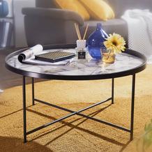 Wohnling Design Couchtisch Ø 76 cm mit Marmor Optik Weiß, rund, mit Metallgestell in Schwarz