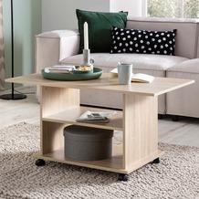Wohnling Design Couchtisch WL5.739 95 x 51 x 54,5 cm Sonoma Drehbar mit Rollen, Wohnzimmertisch Coffee Table, Sofatisch Loungetisch Holz, Kaffeetisch mit Stauraum  sonoma