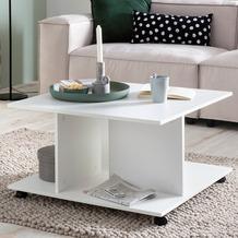 Wohnling Design Couchtisch WL5.742 74x74x43,5 cm Weiß Drehbar mit Rollen, Wohnzimmertisch Coffee Table Klein