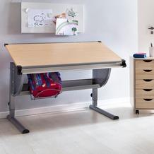 Wohnling Design Kinderschreibtisch MAXI Holz 120 x 60 cm Buche, Mädchen Schülerschreibtisch neigungs-verstellbar, Schreibtisch Kinder höhenverstellbar