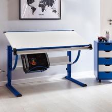Wohnling Design Kinderschreibtisch MORITZ Holz 120 x 60 cm blau / weiß, Jungen Schülerschreibtisch neigungs-verstellbar, Schreibtisch Kinder höhenverstellbar
