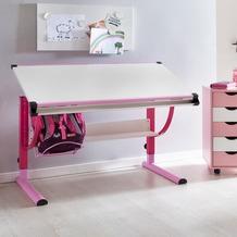 Wohnling Design Kinderschreibtisch MORITZ Holz 120 x 60 cm rosa / weiß, Mädchen Schülerschreibtisch neigungs-verstellbar, Schreibtisch Kinder höhenverstellbar
