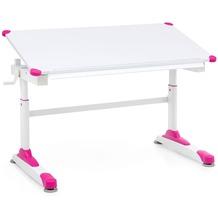 Wohnling Design Kinderschreibtisch WL5.759 Holz 119 x 67 cm Pink/Weiß Maltisch, Neigbarer Schülerschreibtisch