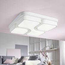 Wohnling Design LED-Deckenleuchte GEOMETRIC Deckenlampe weiß 32W A+ 53x9x53 cm, Design Lampe 2720 Lumen warmweiß, Leuchte Metall mit 3 Lichtfeldern IP20 Weiß