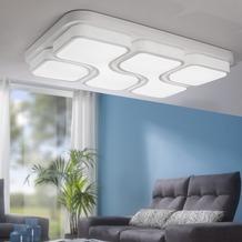 Wohnling Design LED-Deckenleuchte GEOMETRIC Deckenlampe weiß 48W A+ 78x9x53 cm, Design Lampe 4080 Lumen warmweiß, Leuchte Metall mit 4 Lichtfeldern IP20 Weiß