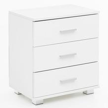 Wohnling Design Nachtkonsole WL5.865 Weiß 45x54x34cm Holz Nachttisch Hochglanz