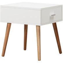 Wohnling Design Nachttisch SCANIO Weiß Matt mit Schublade, Nachtkonsole Skandinavisch mit Eiche Beine, Nachtkästchen 46 cm Hoch