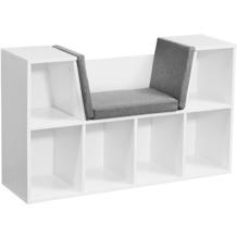 Wohnling Design Regal mit Sitzfläche 101,5 x 61,5 x 30 cm Weiß Matt, Standregal mit Sitzauflage Grau