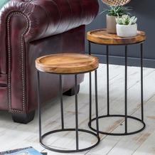 Wohnling Design Satztisch WL5.661 Sheesham Metall Beistelltisch Klein, Couchtisch Set 2 Holz Tische, braun