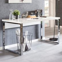 Wohnling Design Schreibtisch CARLIE 140x70x76 cm Groß Weiß Hochglanz Computertisch, Bürotisch 140 cm Breit, PC-Tisch mit Metallbeinen, Home Office Konsole Modern weiß