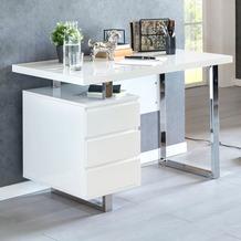 Wohnling Design Schreibtisch PATTY 115x60x76 cm Groß Weiß Hochglanz Computertisch, Bürotisch 115 cm Breit, PC-Tisch mit Metallbeinen, Home Office Konsole Modern weiß