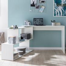 Wohnling Design Schreibtisch WL5.756 Weiß Matt 119 x 78 x 49 cm mit Ablage Regal, Eckschreibtisch mit Aufbewahrung Drehbar Modern, Weißer Computer-Tisch Groß Fach Stauraum Winkelkombination weiß
